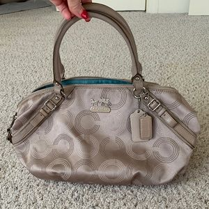Coach Madison Sophia Dotted OP Art Beige Satchel